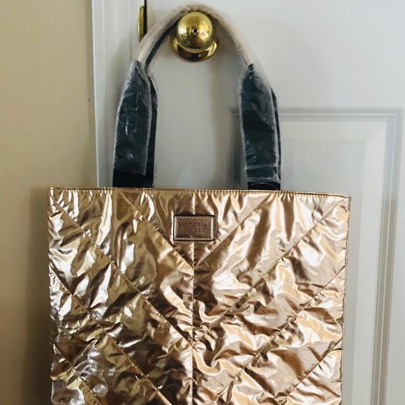 Victoria's Secret Handbags - Victoria's Secret Foil Tote Bag Rose Gold